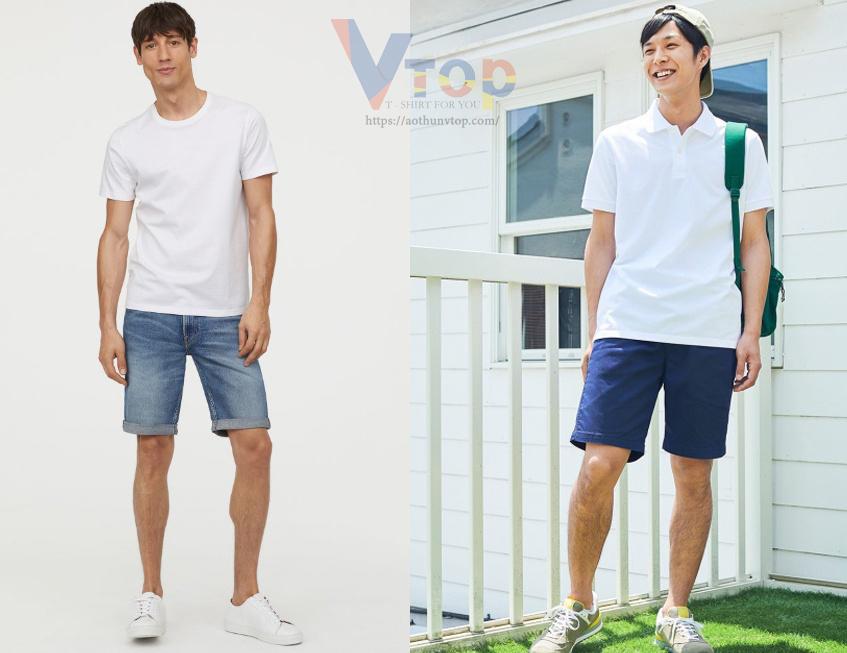 Mix áo thun trắng với shorts