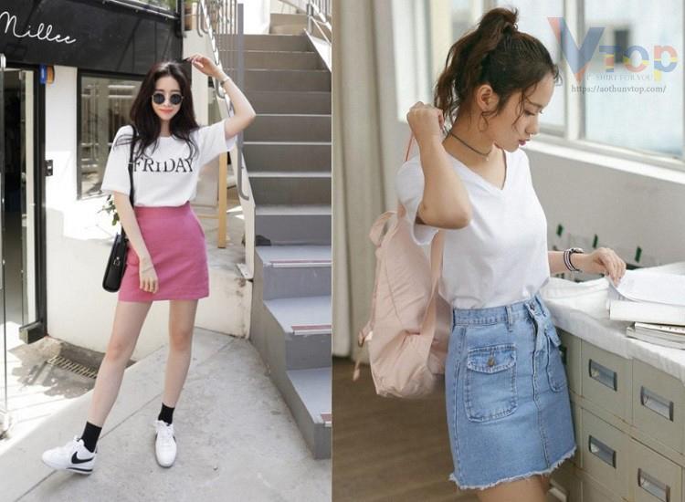 Thun trắng kết hợp váy ngắn và giày trắng