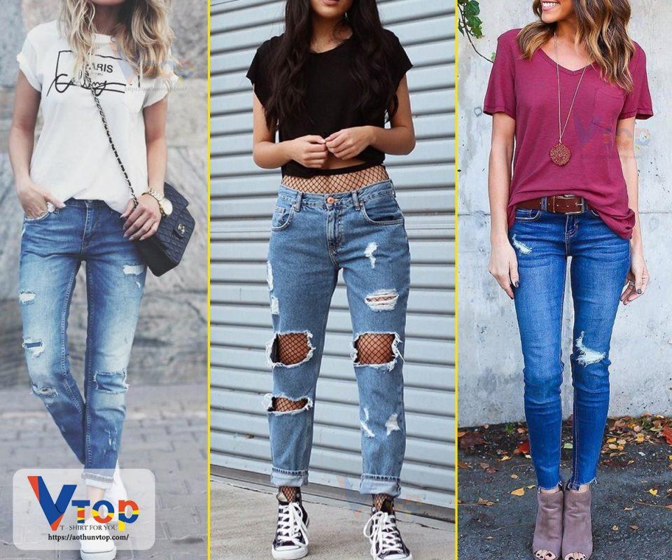 Cách phối quần jean với áo thun nữ